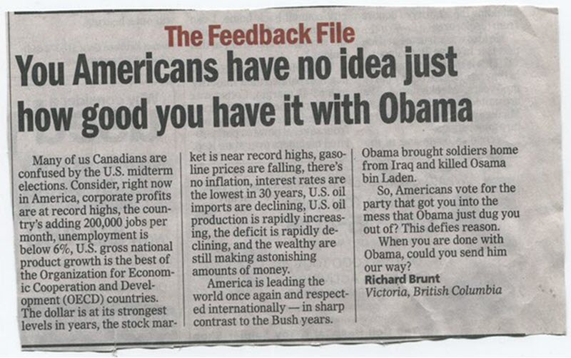 Canadian letter to the editor how good Obama is